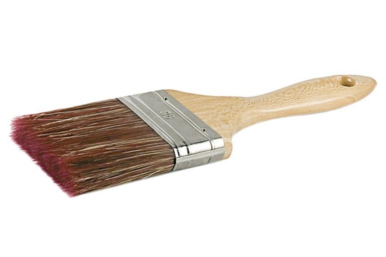 Paletina triple MIX con mango de madera barnizado y mezcla de cerda con fibra de poliester cónica