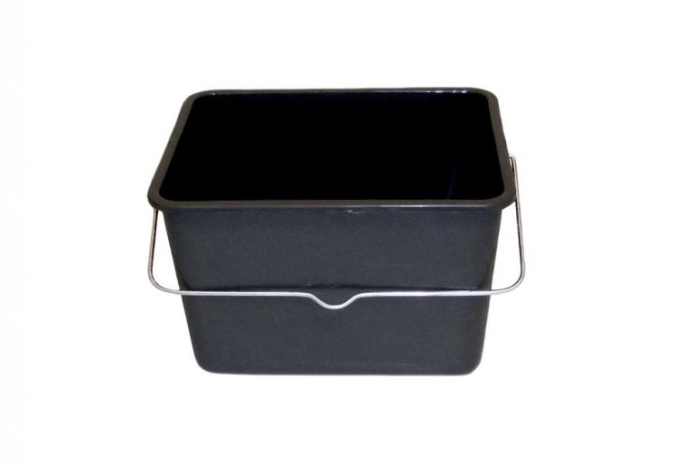 Cubeta de plástico negra de 8 litros con 1 asa y SIN rejilla