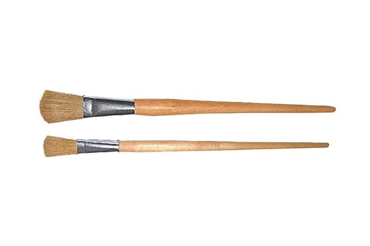 Pincel Plano Cabolata con Mango de madera sin barnizar, virola de aluminio y cerda natural