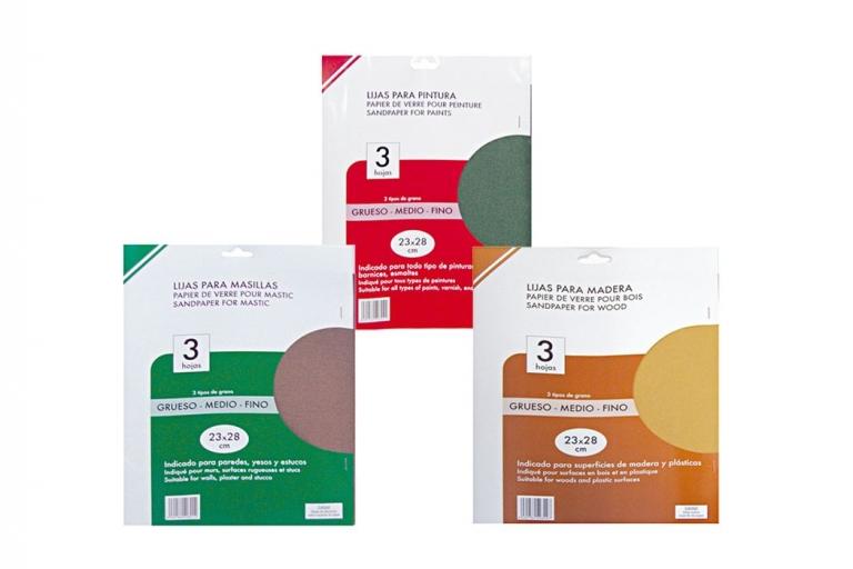 Set de 3 hojas de lija, diferentes granos para masilla, pintura y madera