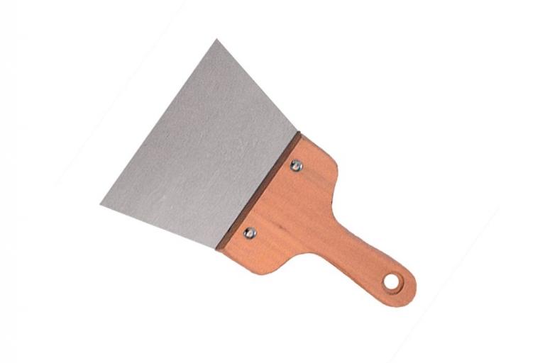 Espátula emplastecer de acero pulido y mango madera 105 mm.